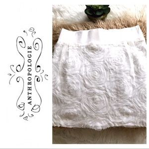 Anthropologie White Rosette Mini Skirt